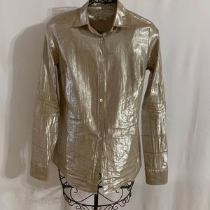 Long Sleeved Gold Metallic Shirt Style Blouse